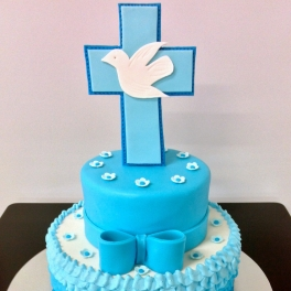 A continental cake with a little extra flourish for a special girl on her Communion Day.