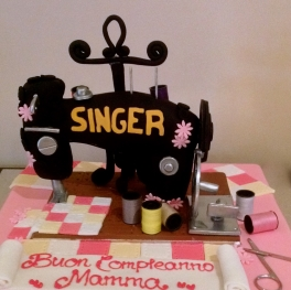 A lovingly created cake for a special Mum who loved to sew. Just so you know, the sewing machine is a cake too!